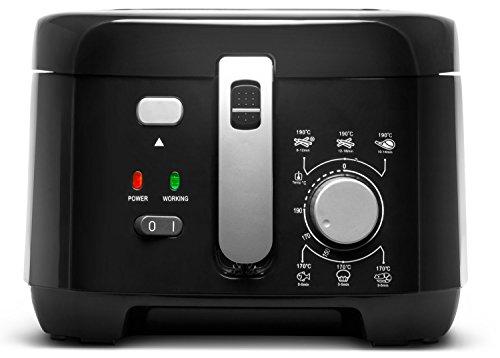 MEDION Fritteuse (1.800 Watt, 2,5L Ölbehälter, integr. Aluminium-Filter, Sichtfenster im Deckel, Überhitzungsschutz, Temperatureinstllung bis 200° C) MD 17771,schwarz
