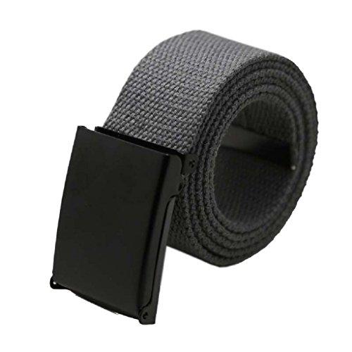 Tonsee® Mode unisexe Plaine Hommes Garçons taille Ceinture toile Casual ceinture en sangle (Gris)