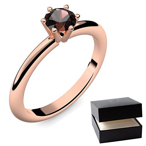 Rotgold Ring Granat 585 + inkl. Luxusetui + Granat Ring Rotgold Granatring Rotgold (Rotgold 585) - Precious Amoonic Schmuck Größe 61 (19.4) AM195 (Kostüm Billig Schmuck)