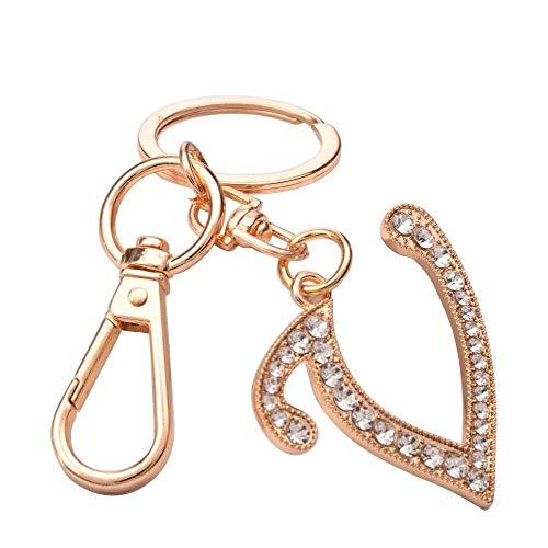 ANDIAOG-Home Frauen Rose Gold Plated Alloy Autoschlüssel Ring mit Kristall Strass Alphabet Anfangsbuchstaben Schlüsselbund Größe L