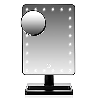 [30% Brighter, 20% Larger and 10% More Energy Efficient] WanEway 3rd Gen Large Lighted Makeup Mirror with 24 LEDs Lights, with 10x Magnification Detail Mirror and Touch Dimmer Switch, Battery Operated, Gift for Women Wife Her Daughter Birthday, Black von