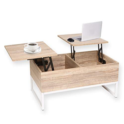 Happy Home Top - Tavolino da Salotto con 2 Scomparti nascosti, 80 x 48 x 80 cm