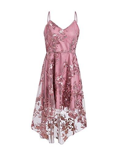 (Terryfy Damen Vokuhila Kleid Elegant Spaghetti Blumen Spitze V-ausschnitt Tüll Knielang Dress Sommerkleid mit Stickerei Rosa)