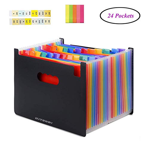 Qutaway Expanding File Folder Documenti A4 portatili Borsa di stoccaggio Organizzazione di documenti cartacei in plastica Organizzatore di file, Rainbow, Stand Self, grande capacità, 24 tasche