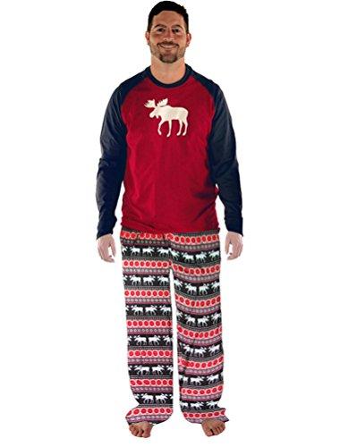 Mangotree Damen Schlafanzug Weihnachten Familie Pyjama Setzt Kinder Mama Papa Hirsch Gedruckten Saisonale Nachtwäsche (EU42, Dad)
