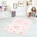 Kinder-Zimmer-Teppich mit Herz Sterne Wolken Anker Designs | rund oder rechteckig | Ideal für Jungen, Mädchen oder im Baby-Zimmer | Ökotex Zertifiziert (Sterne Creme, 60 x 110 cm)