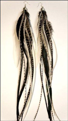 grizzly-extensions extravagante Boucles d'oreilles noir et blanc \\