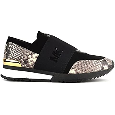 MICHAEL by Michael Kors MK Natural Embossed Python Zapatillas Negro Mujer