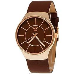 NY London designer Slim Unisex Damen/Herren Leder Armband Uhr, Braun,Rose Gold super flach, inkl Uhrenbox