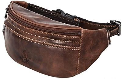 """Sac banane - Gusti Cuir studio """"Spencer"""" sac ceinture vintage sac à main rétro sac porté ceinture homme femme cuir de buffle marron foncé 2G7-22-6 S"""