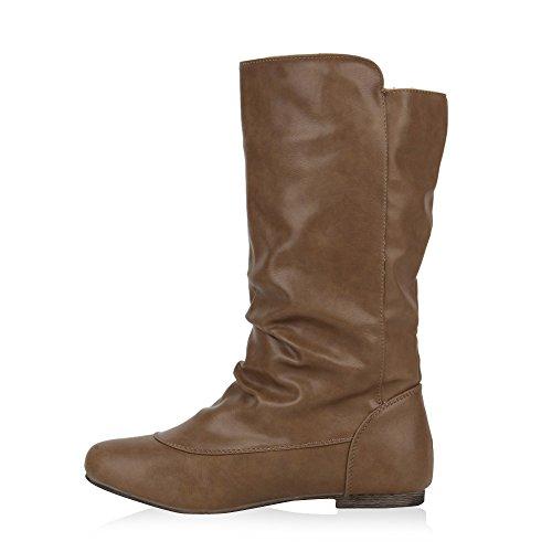 Flache Damen Stiefeletten Stiefel Lederoptik Schuhe Khaki