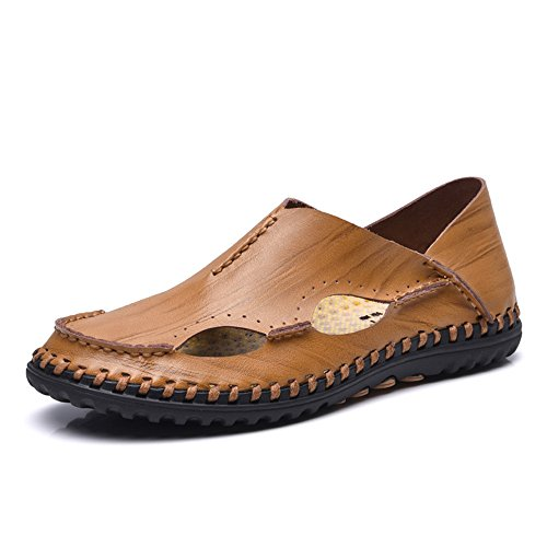 SOULFASHION Designer Herren bequeme Casual Leder Slip on Loafer fahren flache Schuhe Frühjahr Sommer 2017 Sandalen Braun