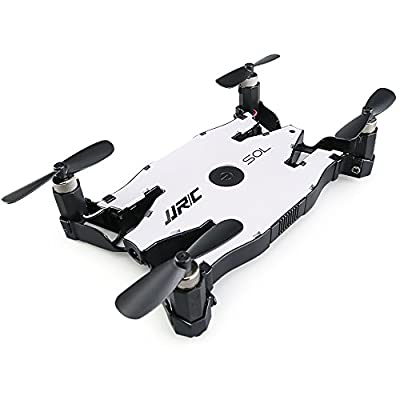 Mini Ultra-Thin Foldable RC Aircraft, JJRC H49 2.4G Gyro WIFI FPV RC Helicopter Drone with 720P HD Camera - Auto-Folding Crankshaft - Real-Time Transmission - Altitude Hold - Beauty Mode - Night Navigation LED
