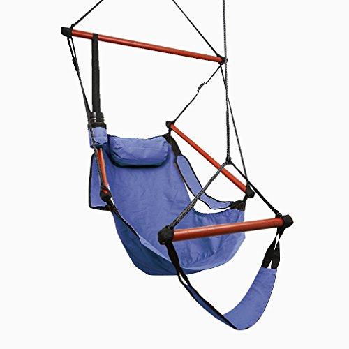 Kinlo stabil Aufhängung Hängesessel Hängestuhl mit Kissen Armlehnen Fußablage Getränkehalter und 4 Holzstange, für balkon Garten, Blau
