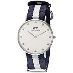 Daniel Wellington Women's Quartz Watch with White Dial Analogue Display and Multicolour Nylon Strap 0963DW