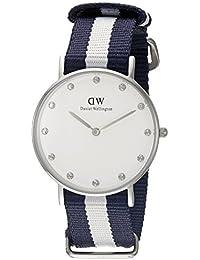 Daniel Wellington Damen-Armbanduhr XS Classy Glasgow LADY SILVER Analog Quarz Nylon DW00100082