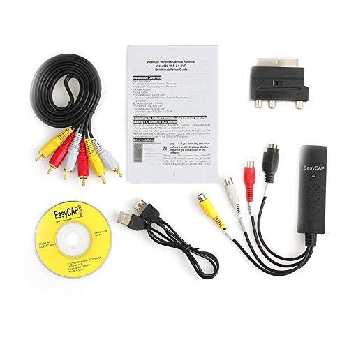 8Eninite Convertidor USB 2.0 VHS a Dvd Kit de captura de Audio y Video Cable Scart RCA para Win10 Negro