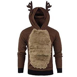 EUZeo Weihnachtspullover Herren Hoodies Top Sweater Pulli Sweatshirt Weihnachtspulli weihnachtlichen Kapuzenpullover Mit Kapuze Weihnachten Rentier Christmas Kapuzenpullover Pullover
