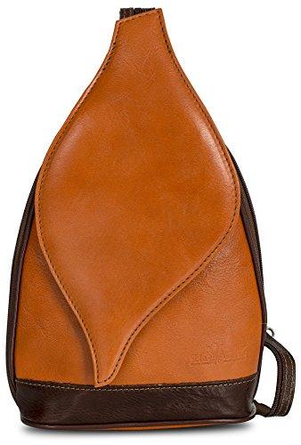 LiaTalia Niedliche kleine italienische Echtleder Cabrio Riemen Rucksack Schultertasche mit einer Schutztasche - Kim Orange - Brown