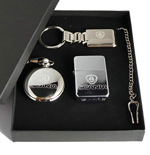 Scania, GPO Group Exclusive Gift Set Silver Plated, Masons Of London Half Hunter, Scania Logo Pocket Watch, Scania Logo Polished Metal Petrol Lighter And Silver Plated Scania Keyring In Presentation Box