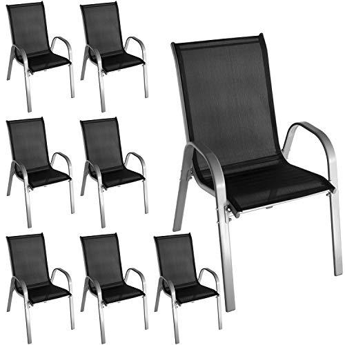 Wohaga 8 Stück Stapelstuhl mit Textilenbespannung, Stahlgestell pulverbeschichtet, Grau/Schwarz, stapelbar, Gartenstuhl