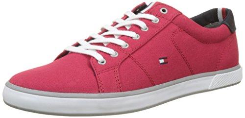 Tommy hilfiger iconic long lace sneaker, scarpe da ginnastica basse uomo, rosso (tango red 611), 43 eu