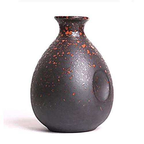 Mini chinesische Keramik Blumenvase Bud Vase Weinflasche, ideales Geschenk für Home Office, Dekor, Tischvasen, Bücherregal Ornamente Flaschen, Orange Punkt