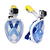 L size Anti fog Detachable dry snorkeling full face mask set scuba diving mask-BLUE