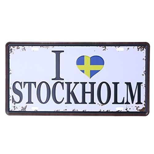 Vosarea Deko-Signen, Vintage, Lackierung von Autos, Eisen, Weiß, aus Metall, Kanister, für die Wand, für Haus und Kaffee (I ❤Stockholm) - Kanister Eisen