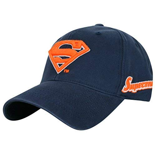 ililily Baseballmütze: Superman-Motiv, klassischer Stil mit genähtem Muster, erhaltbar in Mehreren Farbkombinationen, Baseball Cap, Snapback, Trucker Cap, Mütze (Medium, Navy/Orange) (Baseball Mütze Orange)