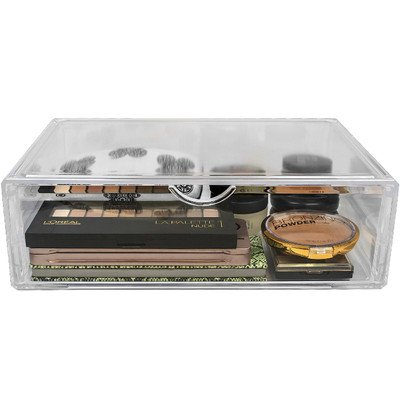 Interlocking-display-kit (Hersbrucker Acryl Cosmetics Make-up und Schmuck Storage Case X-Large Display Sets Interlocking Scoop Schubladen Ihre eigenen Make-up Zähler, stapelbar erstellen und austauschbar, plastik, 1-Drawer, xl)