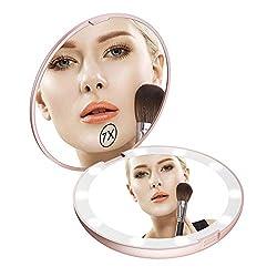 Gospire 5 Zoll Taschenspiegel Tragbar Led Beleuchteter Kosmetikspiegel 1X / 7X Vergrößerung Doppelseitiger Handspiegel mit Batterie Klappbarer Schminkspiegel Reisespiegel für Reise Einkaufen Rosegold