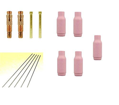 WIG-SET Ø 1,6mm : 2 Spannhülsen + 2 Spanngehäuse + 5 WIG Gasdüsen Argondüsen Gr.5 10N49 + 5 Wolfram Elektroden gold WL15 für WIG-Schweissbrenner WP/SR 17-18-26