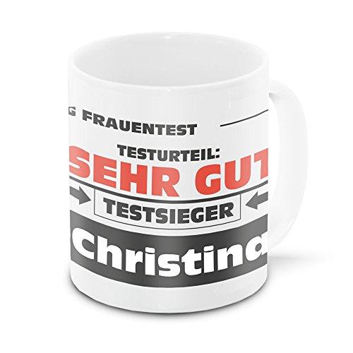 Namens-Tasse Christina mit Motiv Stiftung Frauentest, weiss   Freundschafts-Tasse - Namens-Tasse