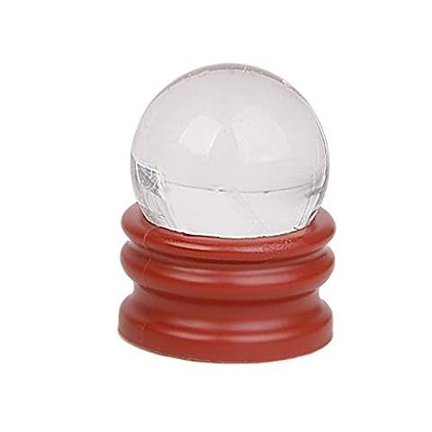 MagiDeal 30mm Boule de cristal Pierre Naturelle Cristal Sphère Boule Verre Optique Transparent avec Support Blanc