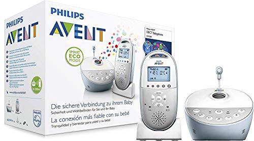 Philips Avent SCD580/00 - Vigilabebes DECT con proyector luz de compañía conestrellas, alcance de hasta 330 m, pilotos LED para indicar los niveles de sonido