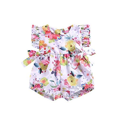 Knowin Babykleidung Mädchen Sommer 2019 Baby ärmellose Schleife Blume gedruckt Spitze für Kinder Neugeborenes Säugling Baby Mädchen Strampler Jumpsuit Bodysuit Outfits Baby Body