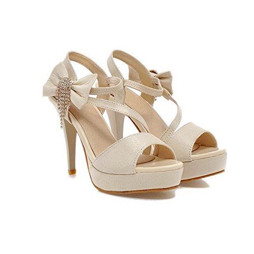 VogueZone009 Donna Elastico Tacco Alto Imitato Pelle Di Maiale Chiodato Heeled-Sandals Beige