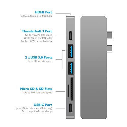 "EKSA USB C Hub Adapter, Upgraded Aluminum 7 in 1 Type C Hub for MacBook Pro 13"" and 15"" 2016/2017/2018, USB C to HDMI, Thunderbolt 3 &TF/SD Card Reader, USB-C Power Supply, 2 USB 3.0 Ports Image 2"