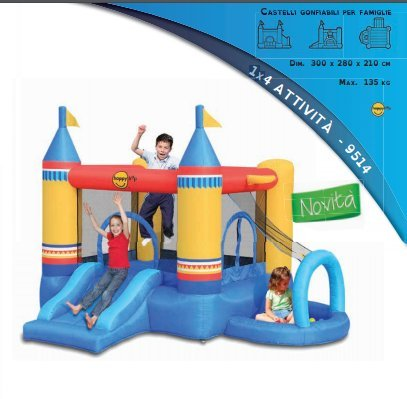 Castello gonfiabile 4 in 1 art.9514 centro giochi happy hop