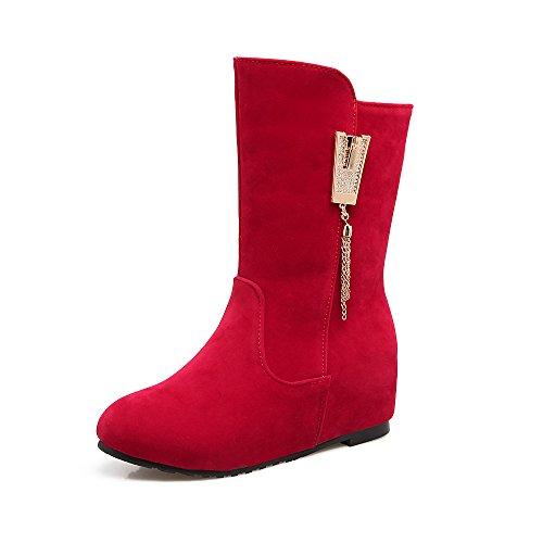 HUA&X Donna tacco piatto interno medio di aumento stivali scarpe di grandi dimensioni Red