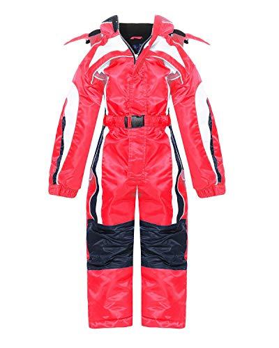 PM Kinder Outdoor Skianzug Snowboard für Jungen oder Mädchen Funktionsanzug Hardshell Schneeanzug LB1127 Winter (Rot, 122)