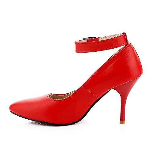 Odomolor Femme Fermeture D'Orteil Pointu Boucle Pu Cuir Couleur Unie Stylet Chaussures Légeres Rouge