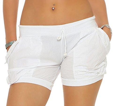 malito Damen Shorts in Unifarben | lässige kurze Hose | Bermuda für den Strand | Pants - Hotpants 6087 (weiß, S)