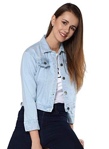 Shocknshop Full Sleeves Comfort Fit Regular Sky Blue Denim Turn-Down Jacket for Women (JKT01, XS)