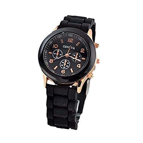 Hot sale New Fashion Designer Ladies sports brand silicone watch jelly watch quartz watch for women men (Black)