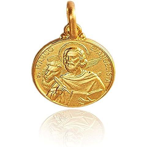 San Marco Evangelista. pendente / medaglione / collana / ciondoli . oro giallo 14K / 585 2.2g, 14mm