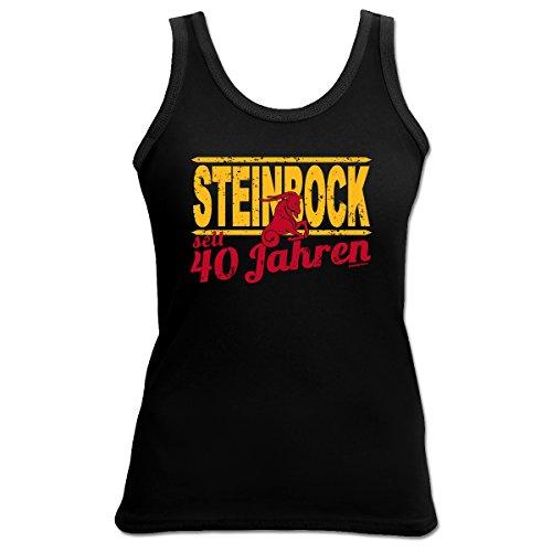 TankTop T-Shirt ::: Steinbock seit 40 Jahren ::: zum Geburtstag mit Sternzeichen Schwarz