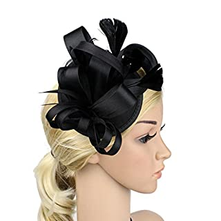 MNII Women Vintage Feather Fascinator Hats Flower Headband With Hair Clip Headwear For Wedding Bridal Cocktail Party Royal Ascot Ladies Day Christmas,Black