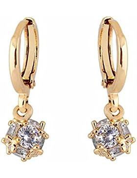 YAZILIND Schmuck Charme 18 Karat vergoldet Cubic Clear Crystal baumeln Ohrringe für Frauen